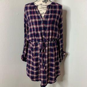 LUCKY BRAND | Flannel Button Down Waist Tie Dress